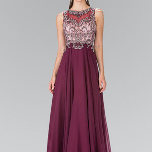 Beaded Top Long Dress with Open Back GL2273